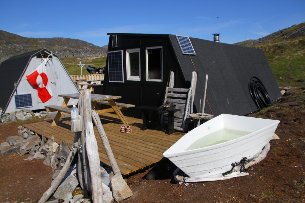 Fly fishing greenland campsite with hot tub